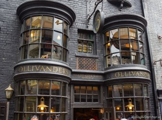 Ollivanders wand shop exterior facade detail